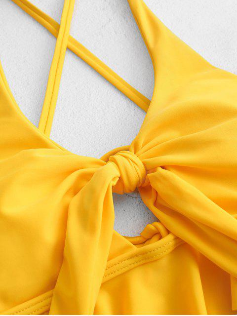 ZAFUL anudada Criss Cross High Cut volante del traje de baño de Tankini - Amarillo 2XL Mobile