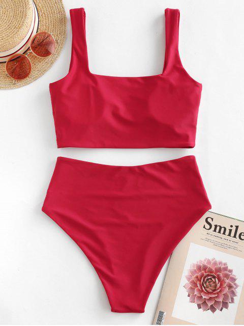 ZAFUL talle alto cuello cuadrado llano Tankini del traje de baño - Rojo Lava 2XL Mobile