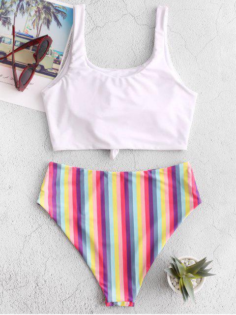 ZAFUL rayado del arco iris anudado High Cut Tankini del traje de baño - Blanco M Mobile