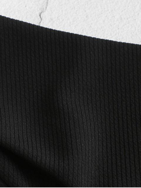 fashion ZAFUL Ribbed High Leg Bikini Bottom - BLACK L Mobile