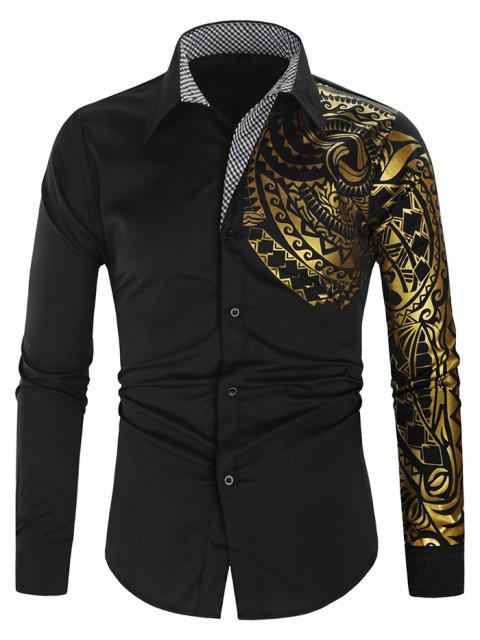 new Glitter Totem Pattern Plaid Print Long Sleeve Shirt - BLACK M Mobile