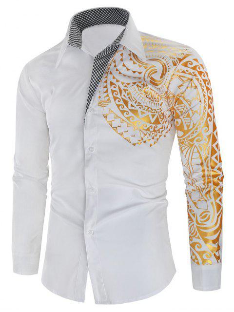 Glitter Totem Pattern Plaid Print Long Sleeve Shirt - 白 3XL Mobile