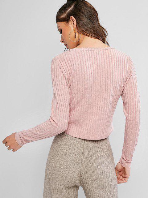 Cardigan Boutonné Côtelé en Couleur Unie - Rose S Mobile