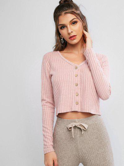 Solid Ribbed Button Up Cardigan - Rose M