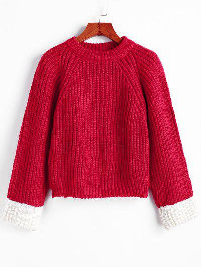Raglan Sleeve Back Slit Chunky Pullover Sweater - Red