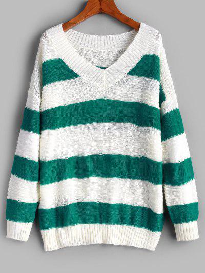 Pullover Color Block Stripes V Neck Sweater - Multi-a