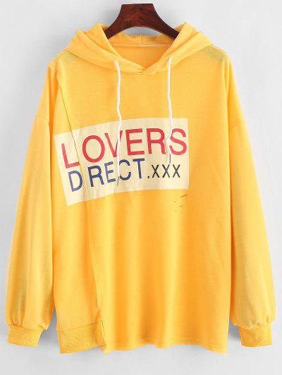 Letter Graphic Drop Shoulder Slit Hoodie - Bright Yellow M