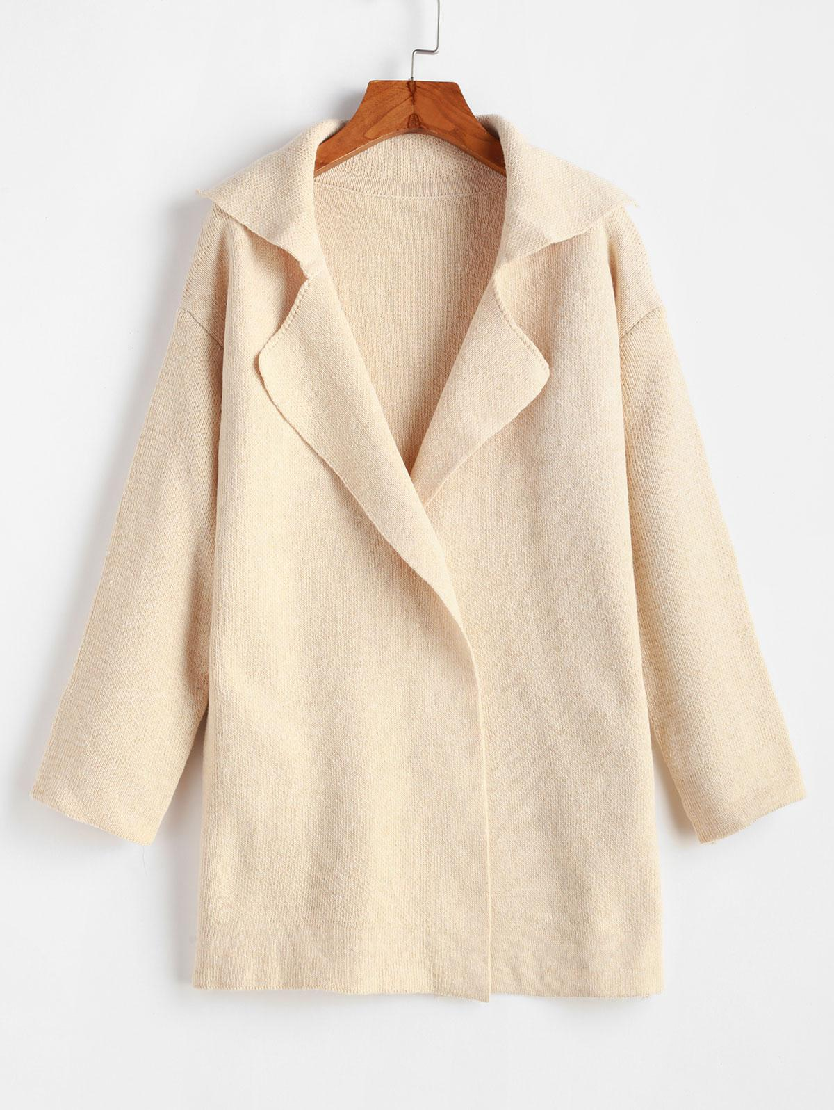 One Buttoned Lapel Seam Pockets Cardigan