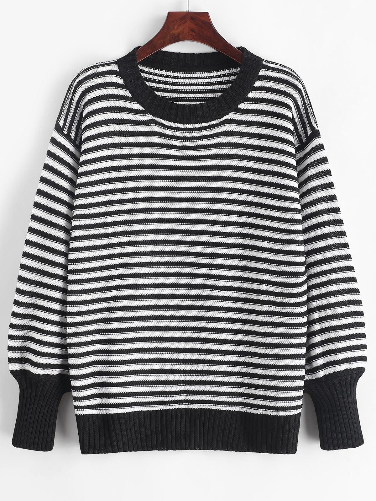 Drop Shoulder Textured Stripes Pullover Sweater