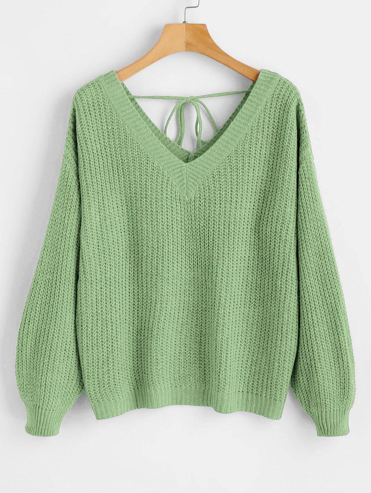 Drop Shoulder V Neck Oversized Sweater