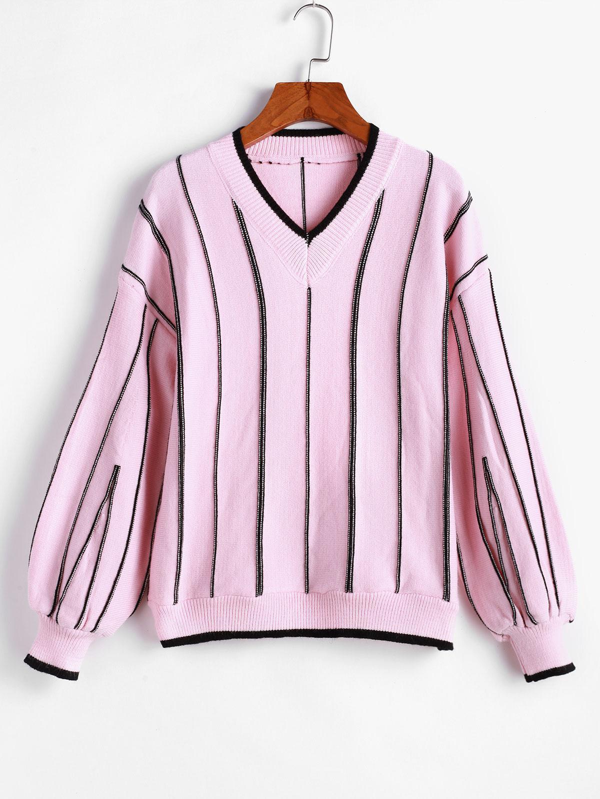 Pullover Textured Stripes V Neck Sweater