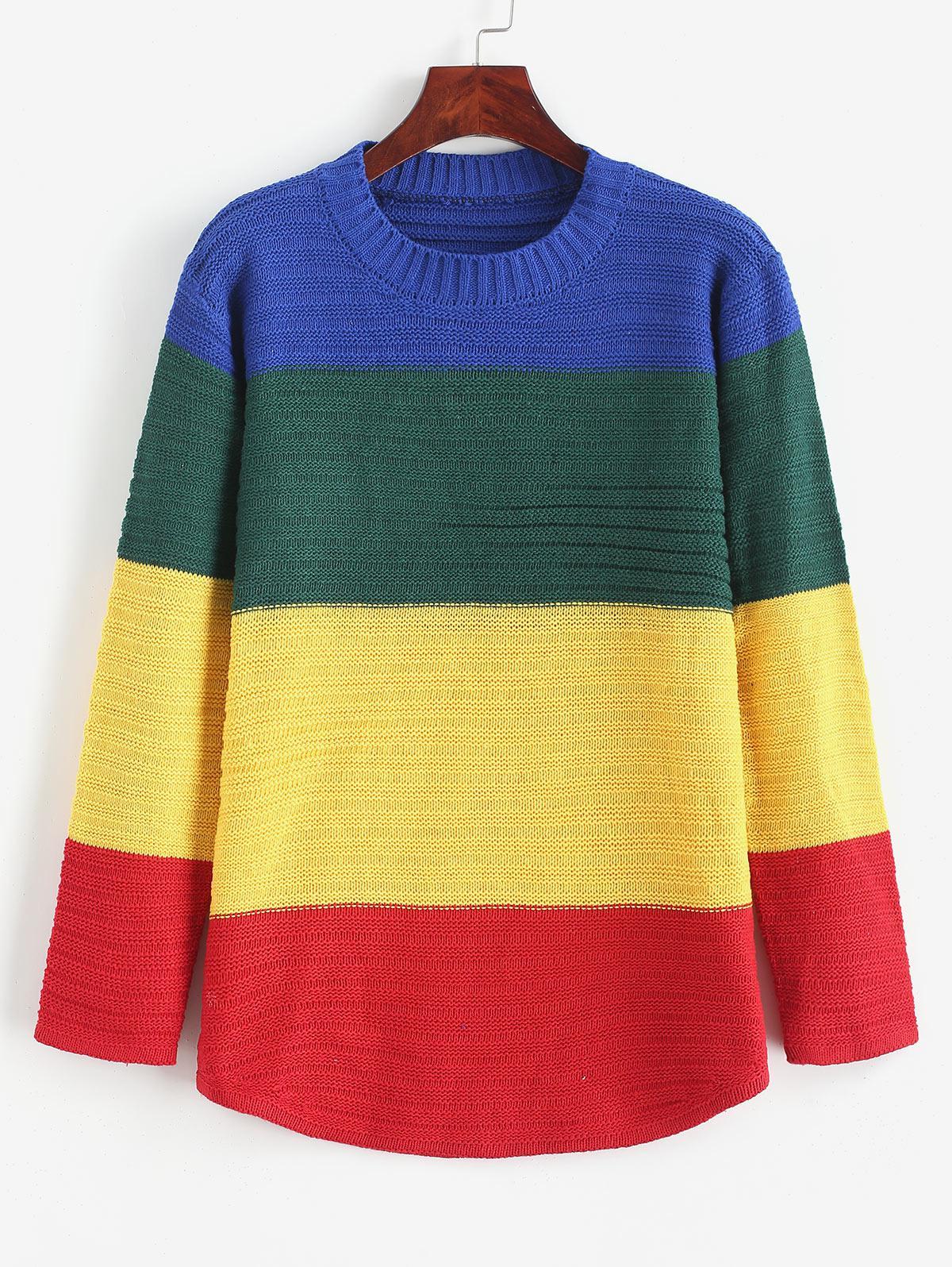 Curved Hem Rainbow Color Block Pullover Sweater, Multi