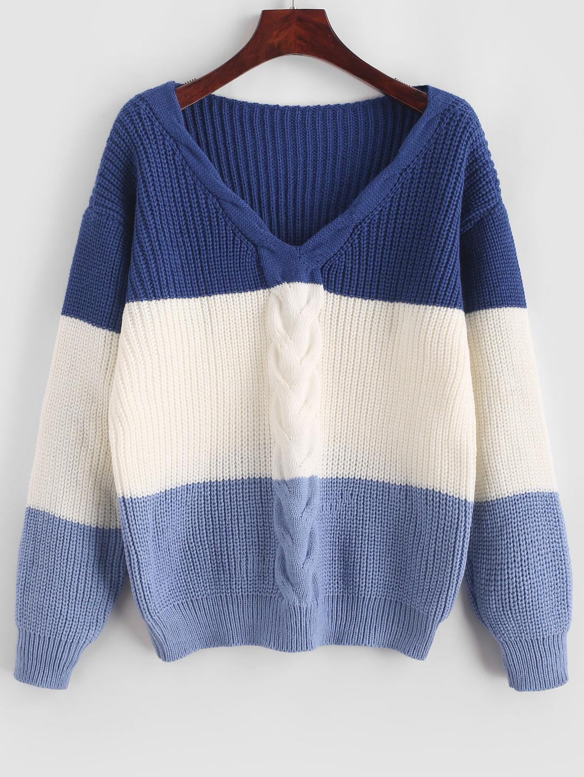 ZAFUL Cable Knit Color Block Sweater