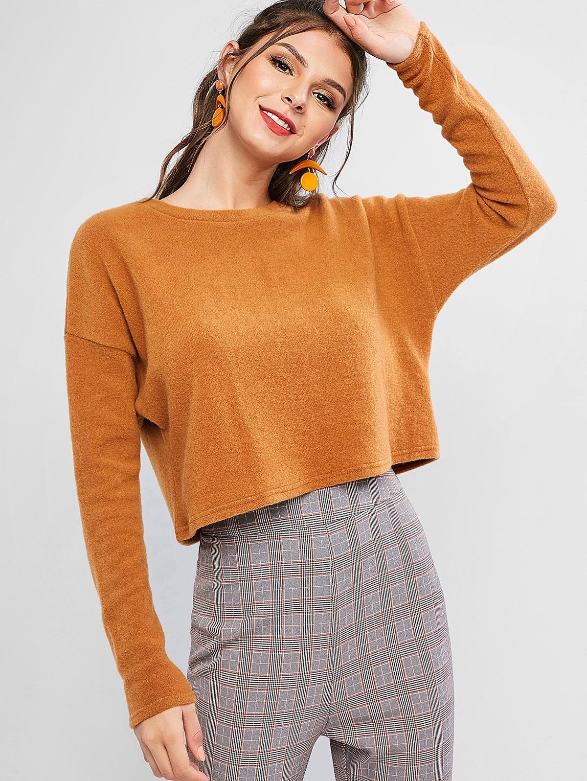 ZAFUL Boxy Cropped Sweater