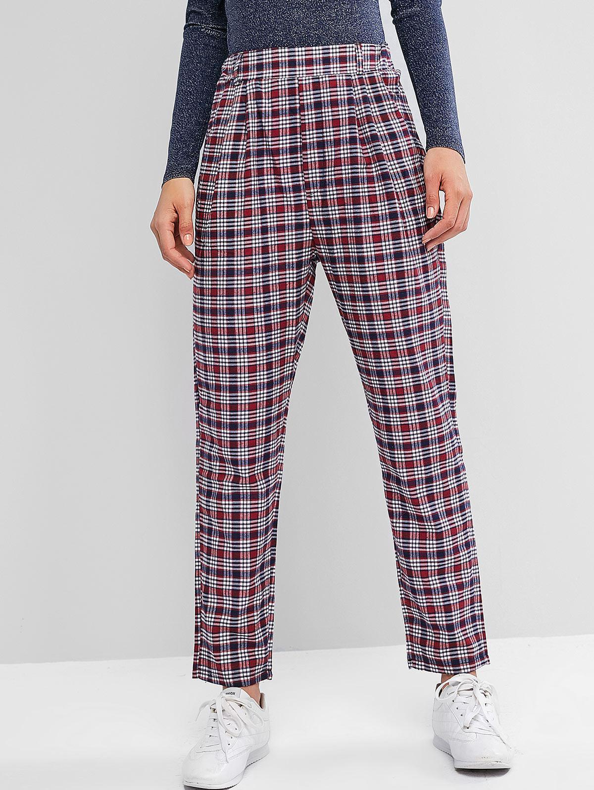 High Waisted Plaid Pockets Straight Pants, Multi