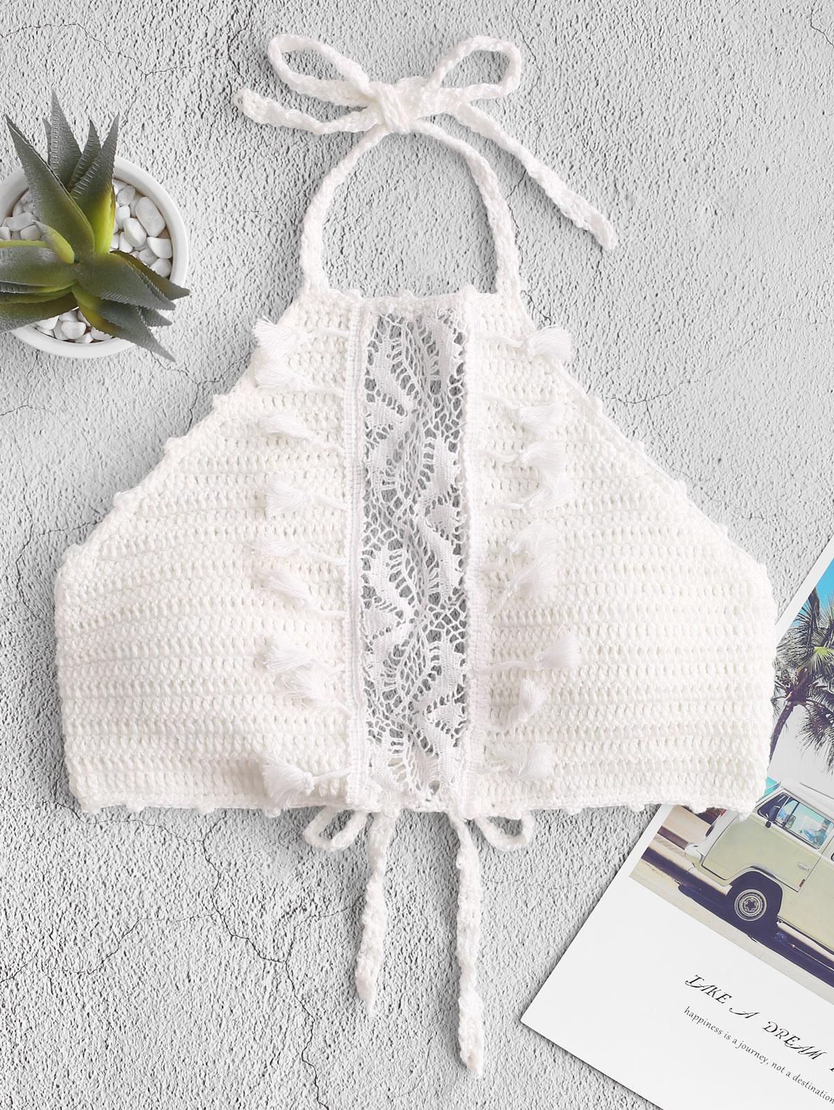 Halter Tassels Lace Panel Crochet Bikini Top, White