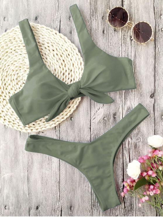 buy Scrunch Butt Knotted Thong Bikini - ARMY GREEN S