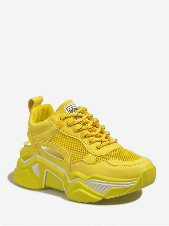 lady Lace-up Mesh Trim Platform Sport Shoes - YELLOW EU 36