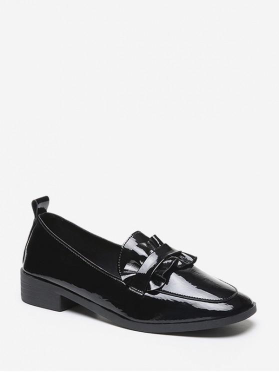 new Ruffled Design Square Toe Slip On Shoes - BLACK EU 38
