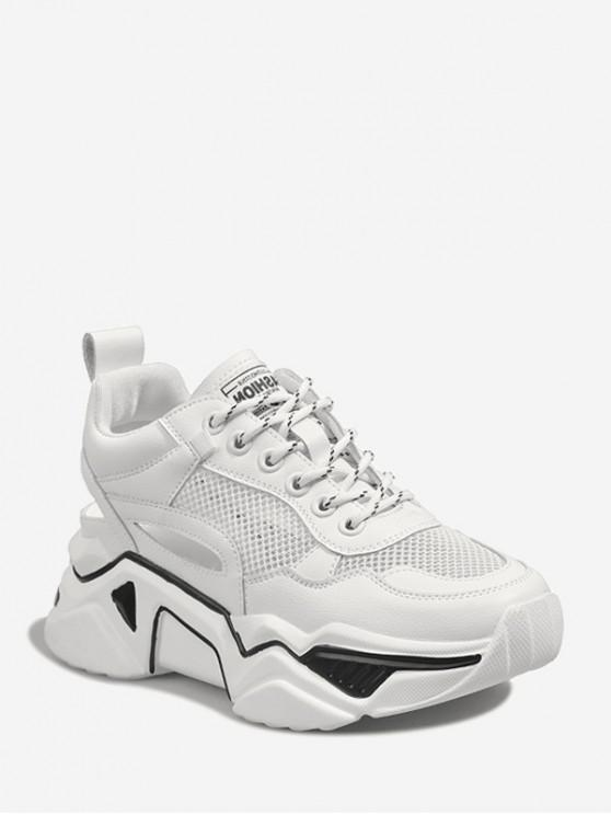 hot Lace-up Mesh Trim Platform Sport Shoes - WHITE EU 40