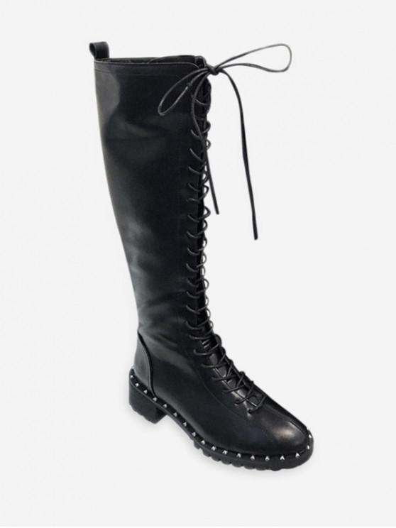 shop Chunky Heel Lace Up Knee High Boots with Rivet - BLACK EU 38