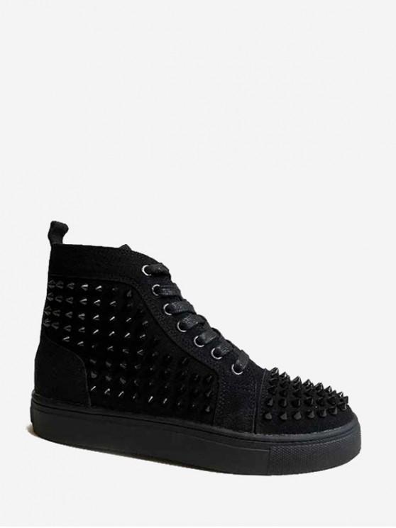 鉚釘裝飾繫帶設計靴 - 黑色 歐盟38