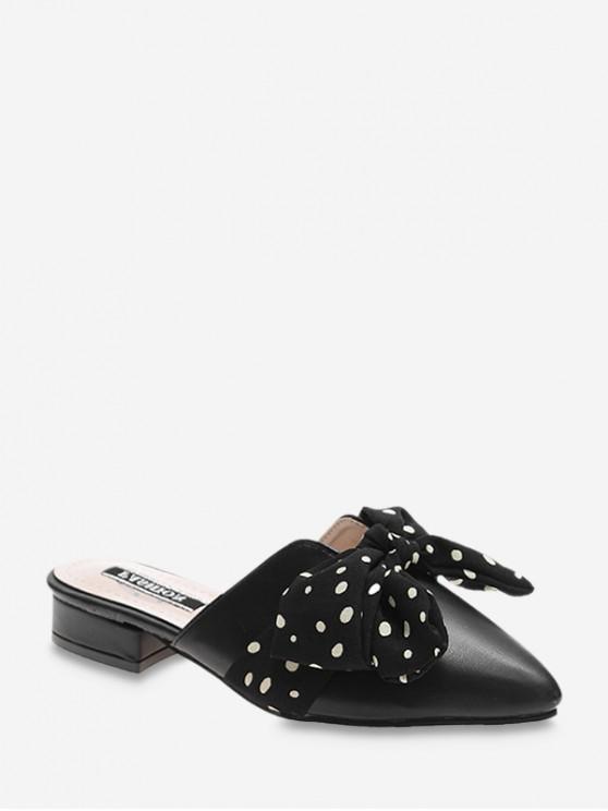 womens Pointed Toe Polka Dot Bow Slingback Flat Shoes - BLACK EU 40