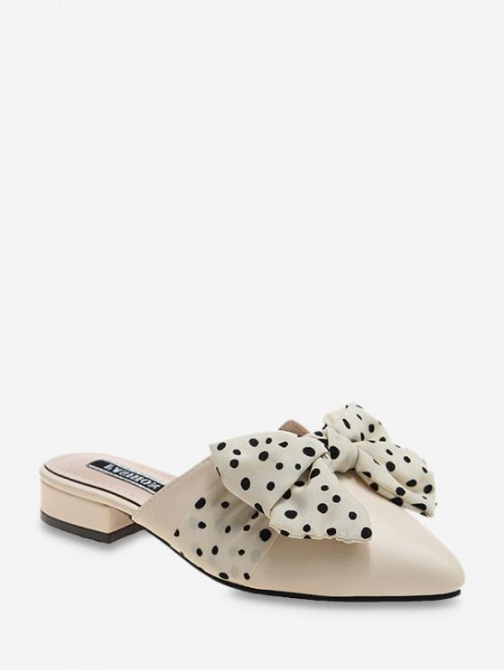 eb5544887746e Pointed Toe Polka Dot Bow Slingback Flat Shoes BEIGE BLACK HAZEL GREEN