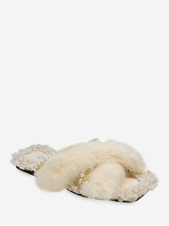 unique Plush Faux Pearl Embellished Slippers - BEIGE EU 35
