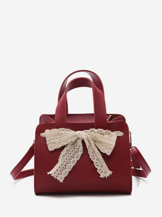 womens Retro Bowknot Design Crossbody Bag - RED WINE