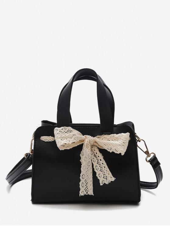 women's Retro Bowknot Design Crossbody Bag - BLACK