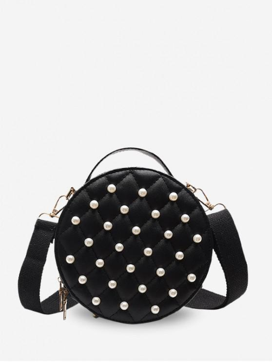 lady Faux Pearl Round Quilted Crossbody Bag - BLACK