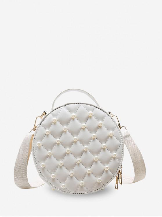 กระเป๋าสะพายข้าง Faux Pearl Round Quilted - ขาว