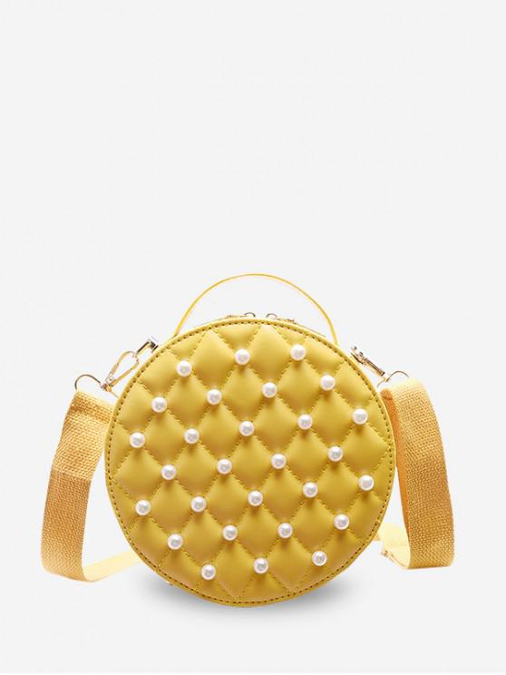 online Faux Pearl Round Quilted Crossbody Bag - YELLOW