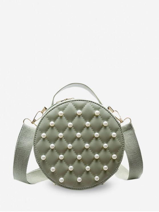 new Faux Pearl Round Quilted Crossbody Bag - CYAN OPAQUE