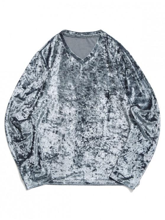 women Solid V Neck Long Sleeve Solid T-shirt - DARK GRAY 2XL