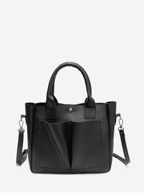 women Vintage Pocket Design Tote Bag - BLACK