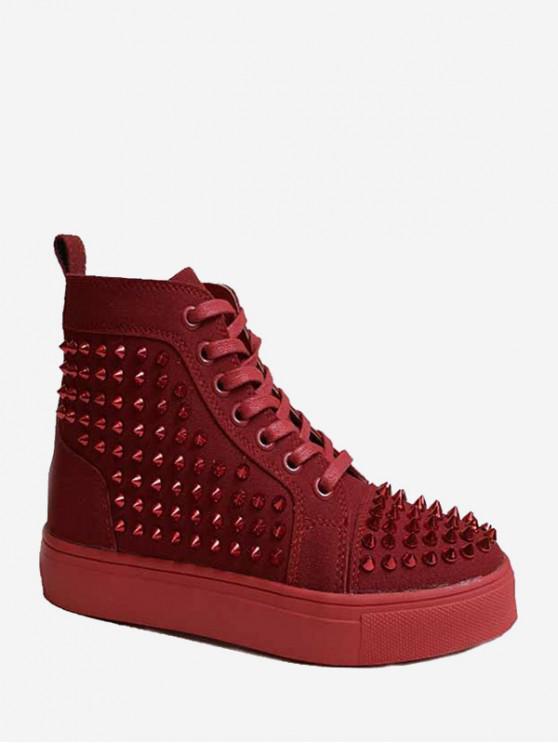 鉚釘裝飾繫帶設計靴 - 紅酒 歐盟43
