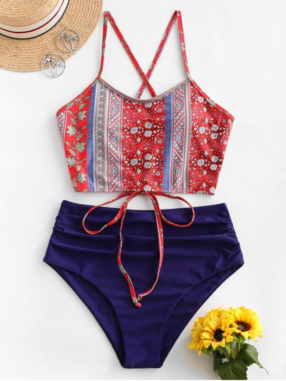 buy ZAFUL Ruched Lace-up Bohemian Printed Tankini Swimsuit - NAVY BLUE 2XL