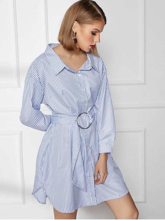 latest Striped Belted Drop Shoulder Shirt Dress - BLUE L