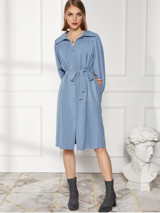 buy Button Up Long Sleeve Belted Shirt Dress - MIST BLUE L