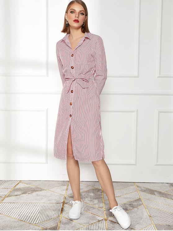 fancy Striped Pocket Slit Belted Shirt Dress - RED L
