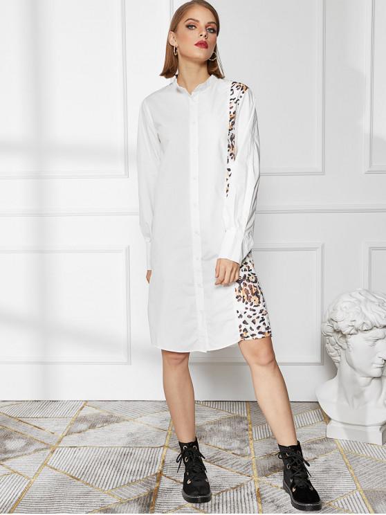 womens Leopard Panel Button Up Slit Long Sleeve Shirt Dress - WHITE S