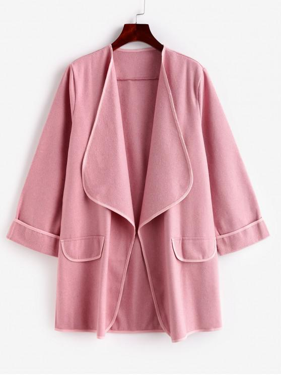 womens Faux Pockets Solid Draped Coat - PINK M