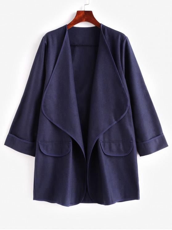 hot Faux Pockets Solid Draped Coat - BLUE M