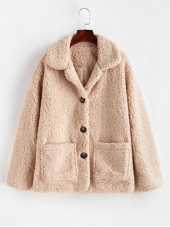outfits Pocket Single Breasted Fluffy Teddy Coat - LIGHT KHAKI L