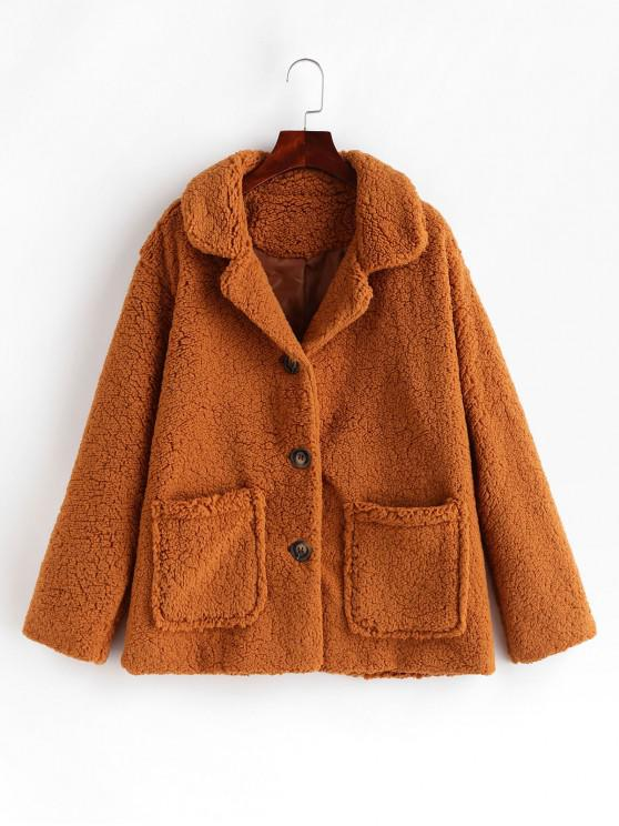 affordable Pocket Single Breasted Fluffy Teddy Coat - BROWN L