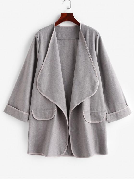 new Faux Pockets Solid Draped Coat - GRAY S