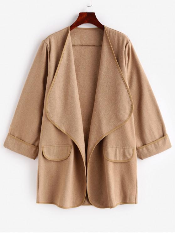 Cappotto drappeggiato tinta unita tasche - marrone  L