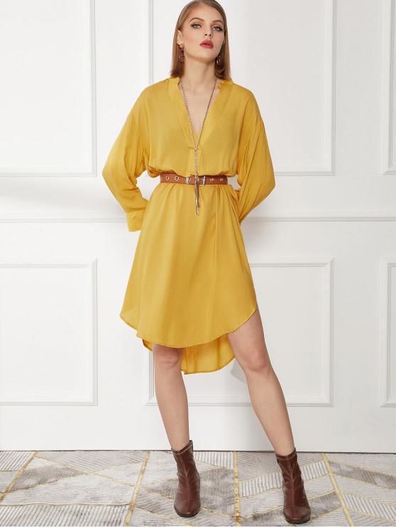 sale Curved Hem Long Sleeve Straight Casual Dress - YELLOW S